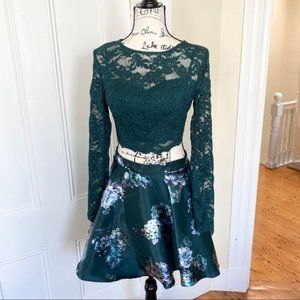 Two Piece Emerald Green Formal Dress